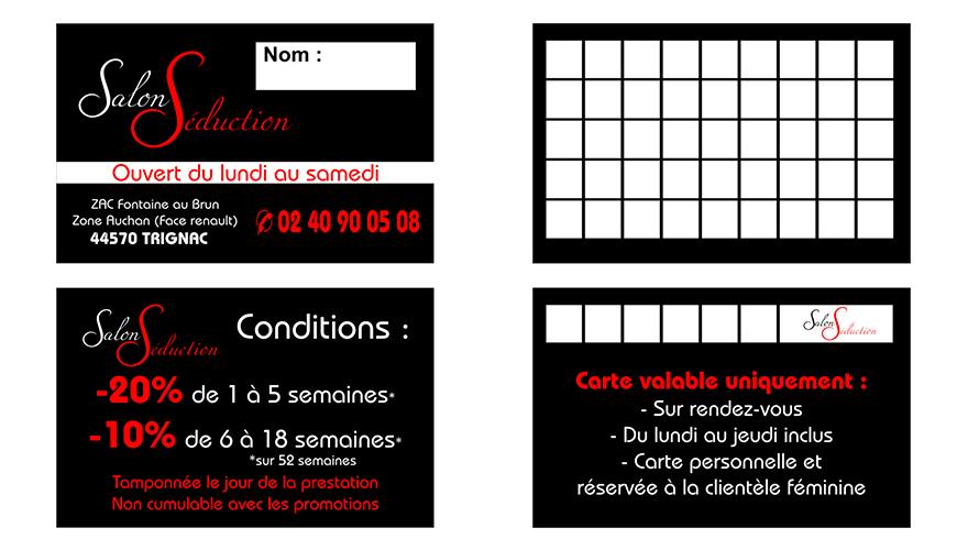 Carte De Visite Impression Quadrichromie Recto 54x85mm Fidelite 2 Volets Verso